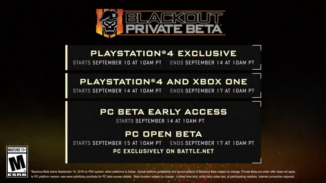 Black Ops 4 - Blackout dates